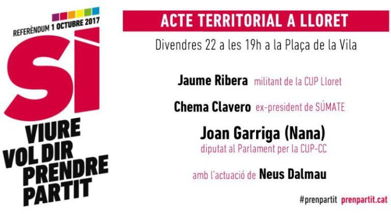 """La CUP organitza un acte avui a Lloret """"per parlar més enllà de l'1-O"""""""
