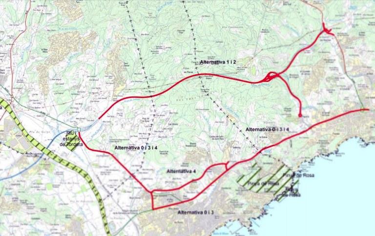 Mapa de les alternatives al nou ramal de la C 32 fins a Lloret