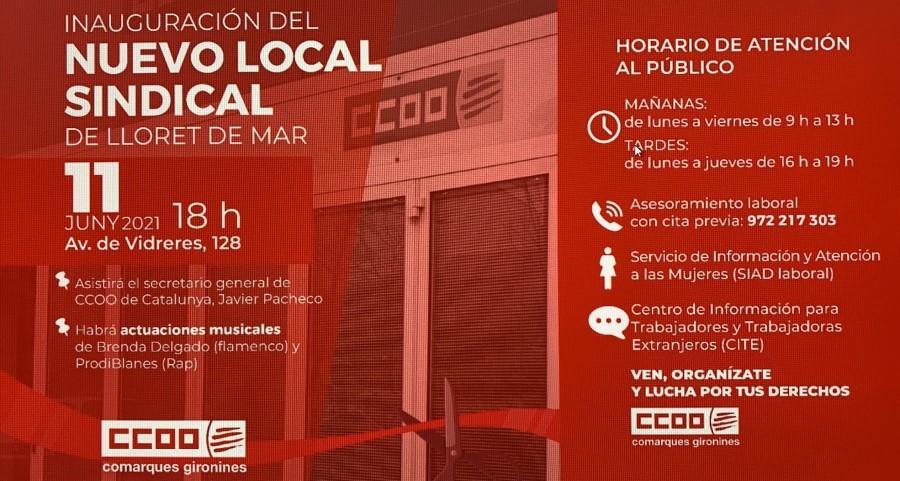 Cartell de la inauguració del nou local de CCOO