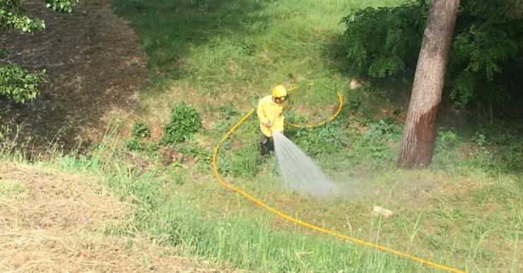 L'Agrupació de Defensa Forestal remulla les zones amb borrissol per evitar incendis