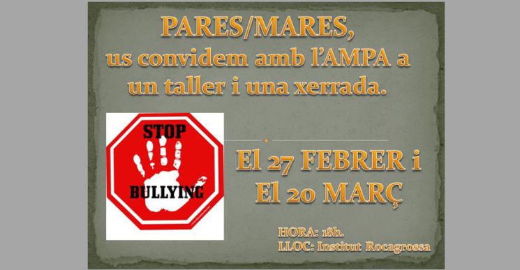 L'AMPA de l'institut Rocagrossa organitza una xerrada-taller sobre l'assetjament escolar