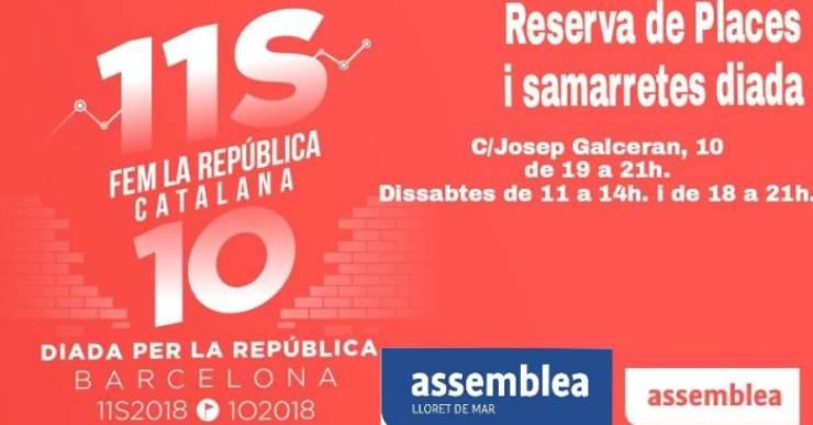 L'ANC i ERC de Lloret organitzen autocars per anar a Barcelona per la Diada Nacional de Catalunya