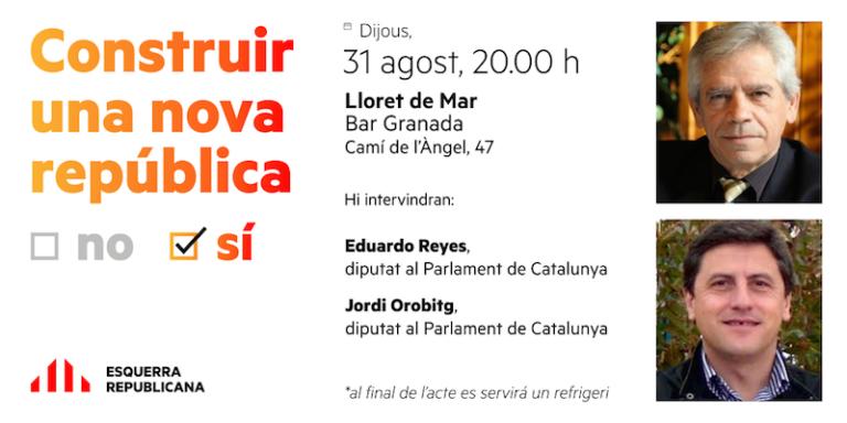 Eduardo Reyes i Jordi Orobitg faran campanya a Lloret sobre el referèndum de l'1-O
