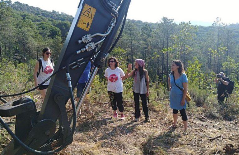 Natàlia Sànchez, diputada de la CUP, visita els boscos de Lloret per protestar contra la C-32