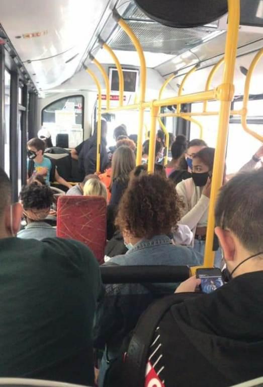 interior del bus Lloret a Blanes