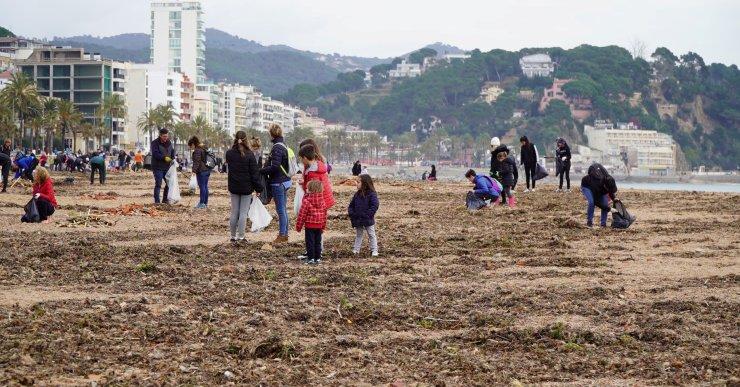 Més de 360 persones netegen les platges de Lloret, Fenals i Canyelles, després del pas del Glòria