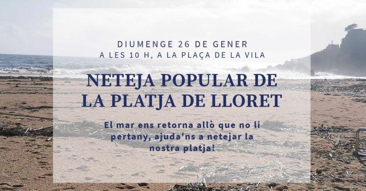 Neteja popular a la platja de Lloret, aquest diumenge, després del temporal Glòria