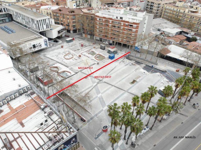 La meitat oest de la renovada plaça Pere Torrent obrirà durant el mes de juny