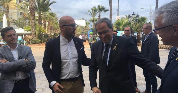 El president de la Generalitat, Quim Torra, visita Lloret de Mar i signa el Llibre d'Honor