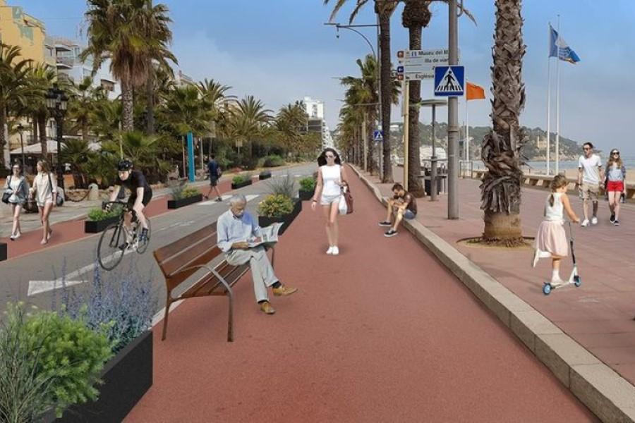 Imatge de com quedaria el passeig amb un únic sentit de circulació (Ajuntament de Lloret de Mar)