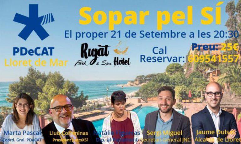 El PDeCAT organitza el 'Sopar pel SÍ' amb 160 persones, aquest vespre a Lloret