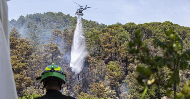 Un coet podria ser la causa de l'incendi forestal que ha cremat 1,5 hectàrees a Lloret